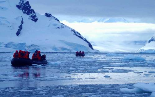 A zodiac cruise through the Antarctic Peninsula. © Karen Edwards